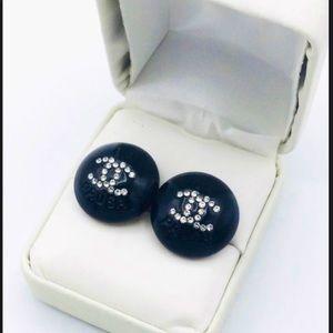 Authentic Chanel Button Stud Black Rhinestone